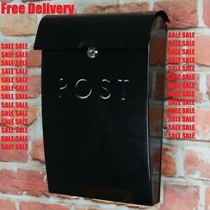 Steel Post Box Wall Mounted Outdoor Letter Mailbox Weatherproof Lockable 2 Keys