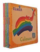 Elmer Elephant Fun 4 Small Board Books Toddler Baby Kids Learning Nursery New