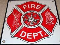 "VINTAGE FIRE DEPARTMENT UNITED STATES 8"" PORCELAIN METAL CHIEF GASOLINE OIL SIGN"