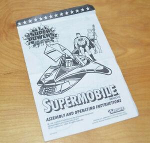 Vintage SUPER POWERS SUPERMOBILE Instructions Kenner 1984 Superman DC Comics