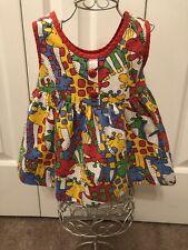 Cuddle Teen Sz 12 Months VTG USA ILGWU Union Summer Infants Dress Safari Animal