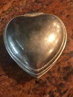 Vintage Heart Shaped Metal Jewelry Trinket Box