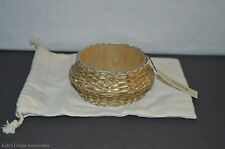 Fossil Brand Exotic bamboo Straw Pyramid Bangle Bracelet NWT & Dust Bag Nice $36