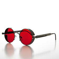 Round Gun Metal Steampunk Goggle Sunglass with Red Tinted Lenses - ORWELL