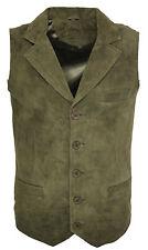 Men's Smooth Goat Suede Classic Smart Khaki Leather Waistcoat