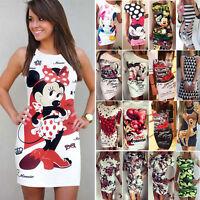 Womens Print Slim Pencil Bodycon Mini Short Dress Holiday Summer Party Clubwear