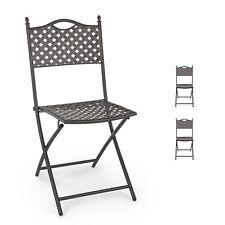 Set 2 sedie da giardino pieghevoli acciaio con finitura opaca color grigio scuro