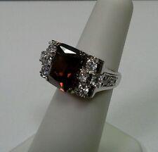 Joseph Esposito QVC Sterling Silver Ring Garnet Diamonique Size 5.25