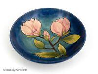 Large Vintage William Moorcroft Art Pottery Blue & Pink Floral Serving Bowl