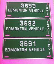 3 1971 Alberta Edmonton Vehicle Canada License Plates 3691 3692 3693