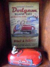 """1930s Lindstrom Tin Windup """"Skeeter-Bug"""" Bumper Car Toy Vintage + METAL SIGN+Key"""