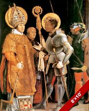 MEETING OF SAINT MAURICE & ST ERASMUS ELMO PAINTING ART REAL CANVAS PRINT