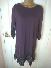 Next Size 16 Maroon Shift Dress Floral Trim Layered Lagenlook