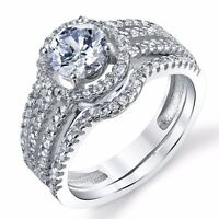 925 Sterling Silver CZ Engagement Wedding Ring Set Matching Band Cubic Zirconia