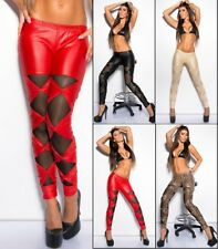 Koucla Damen Wetlook Jeggings Leggings mit Schleifen