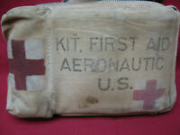 Original WWII US Army Air Force Corps Aeronautic First Aid Kit Canvas Airborne