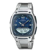 Casio AW81D-2A Men's Metal Band Blue Dial Analog Digital Telememo 30 Watch
