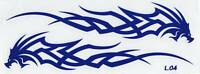 PLANCHE TUNING 2 AUTOCOLLANT STICKER TRIBAL DRAGON BLEU DIM. 22,5 X 5 CM