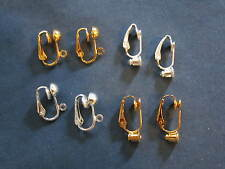 4 pair clip on post & dangle earring converters 2 gold 2 silver plated & earnuts