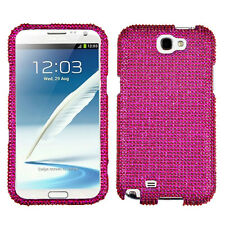 Samsung Galaxy Note II 2 Crystal Diamond BLING Hard Case Phone Cover Hot Pink