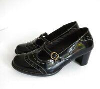 """❤ HOTTER SOPHIA Size UK 4 Black Patent Leather Shoes Cream Stitching 2.25"""" Heel"""