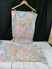 2 Vintage Standard Pillowcase Pink Blue Green Floral W/Ruffle USA