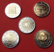 5 x 2 Euro Gedenkmünze Malta: 3 x2015+2 x2016 Ggantija, Love, erster Flug, Flag