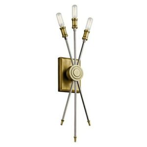 Kichler 42203NBR Doncaster 3 Light Candle Wall Sconce Natural Brass