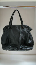 Gucci Black Leather  Embossed Horse-bit Full Moon Tote Large Handbag 257290