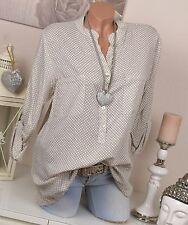 Fischerhemd Tunika Hemd Bluse Oversize Muster 36 38 40 Natur Hemdbluse Kreise