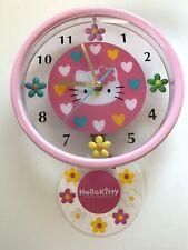 Vintage 1997 Pink HELLO KITTY Sanrio Japan Pendulum Wall Clock NIB Works !
