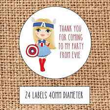 Superhero  Party bag stickers 24 thank you coming sweet cone birthday girls