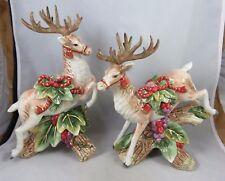 Fitz & Floyd - Regal Holiday - Christmas Deer Reindeer - Candle Holder Figurines