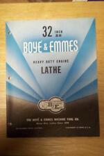 "Vtg Boye & Emmes Machine Tool Co Brochure~Model BH 32"" Engine Lathe~Catalog"