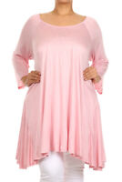 Women Plus Size Hem Loose Fit Casual Tunic Top in Solid Colors