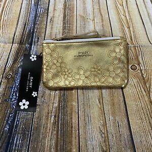 NWT Daisy Marc Jacobs Gold Floral Zipper Pouch Bag