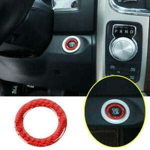 For Dodge Durango 2014-2021 Red Carbon One-Button Start Switch Cover Ring Trim