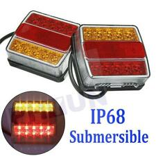 2X Rear 16 LED Submersible Trailer Tail Lights Kit Boat Marker Truck Waterproof