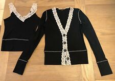 Ladies Cardigan And Vest Top - Twin Set - Size 10/12 - Black And Cream Lace