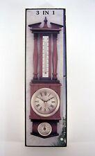 Hygrometer-Thermometer - Uhr 3 in 1 Kunststoff braun 50 x 14,5 x 4 cm