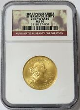 2007 W GOLD US $10 JEFFERSONS LIBERTY SPOUSE 1/2 oz COIN NGC MINT STATE 70