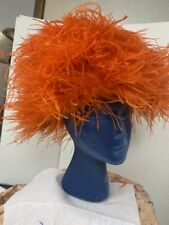 Vintage Hat Orange Ostrich Marabou Feather Party Dress Fluffy 50s 60s Glam Diva