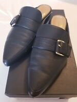 Banana Republic Women's Slip On Black Loafer w/ Buckle Mules 8.5 Slide On