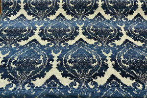 Italian Damask Chenille Greco Indigo Fabric Upholstery by the yard