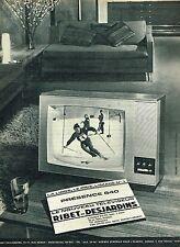 P- Publicité Advertising 1962 Téléviseur  Presence 640 Ribet Desjardins .. ski