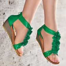 Womens Ladies Low Heel Wedge Sandals Flower Flat Summer Shoes Strappy size 20373