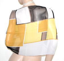 FOULARD étole blanc noir jaune orange femme châle echarpe voilé multicolore G56