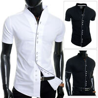 Mens Short Sleeve Dress Shirt Grandad Band Collar Casual Slim Fit Cotton Summer