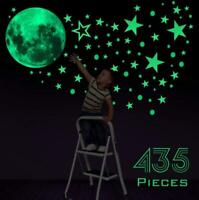 435Pcs Glow In The Dark Luminous Stars And Moon Planet Space Wall Stickers Decal
