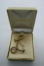 Vintage In-Vestments Jewelry Rope Monogram Gold Tone Rope Large Brooch Letter L